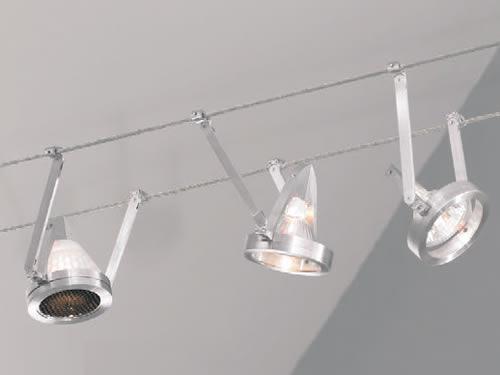 Tech Lighting K-Bye Kable lights Eggcrate louver shown on one light