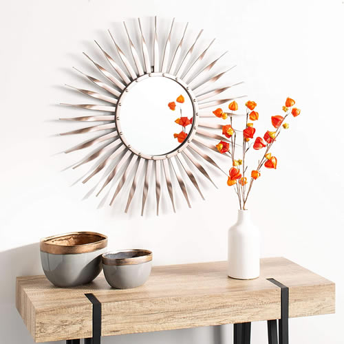 Safavieh Home MRR1001A Marlene Rose Gold Sunburst 28-inch Decorative Accent Mirror