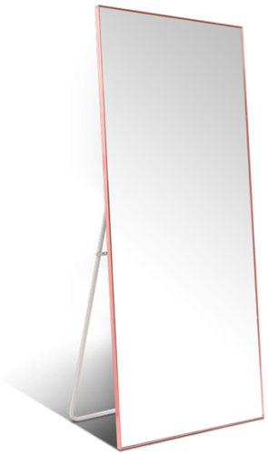 Hans & Alice Rose Gold Free Standing Full Length Floor Mirror