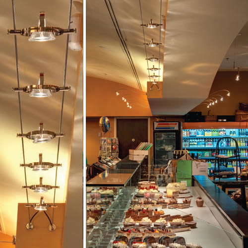 Tech Lighting Kable with K-Hello Lights Bakery with Wall Monorail and cable lighting