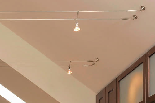 Tech Lighting K-Jane Lights Soft Turnbuckles attach the cable to the ceiling Kitchen with Cable Lighting