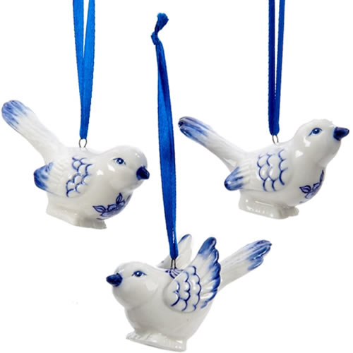 Kurt Adler Blue and white Porcelain Bird Ornaments