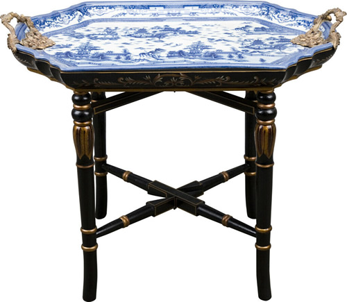 Blue Willow Pattern Porcelain Tray with Brass Handles on Black Lacquer Table with Gilt details