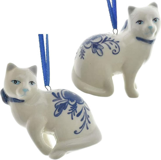 Homeford Delft Blue Willow Cat Ornaments