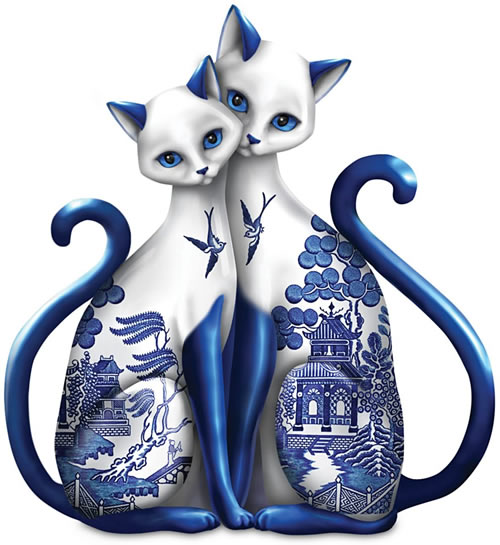 Purr-ecious Blessing of Two Lovers Blue Willow Cats Porcelain Figurine from The Hamilton Collection