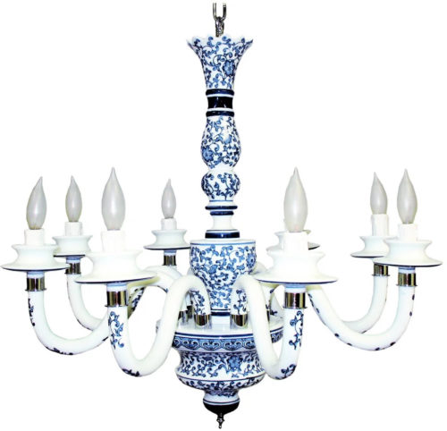 JT Lighting 10018 Blue Garden Porcelain Chinoiserie Chandelier