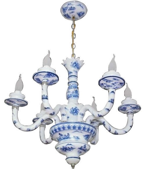 Caslo Lighting Hand Painted Porcelain Chandelier with Chinoiserie Landscape in Blue and White