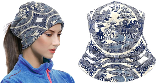 Blue Willow Face Mask can be used as a head scarf