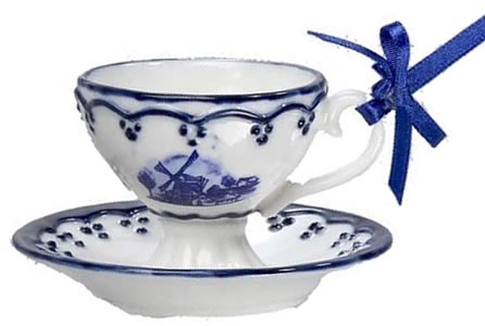 "Kurt Adler 2"" Porcelain Delft Blue Cup and Saucer Ornament with a Windmill"