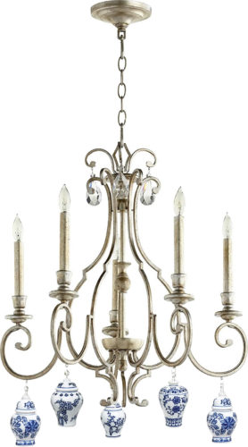 Quorum 6014-5-60 Ansley Chandelier in Aged Silver Leaf finish with Bandwagon Mini Ginger Jar Ornaments