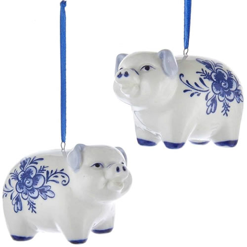 Kurt Adler Blue and White Porcelain Delft Pig Ornaments