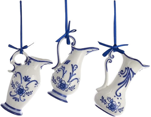 Kurt Adler Blue and White Porcelain Delft Pitcher Ornaments