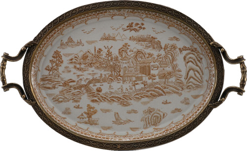 Tray Table with the Blue Willow Pattern in Nutmeg Brown