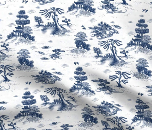 Spoonflower Blue Willow Toile fabric