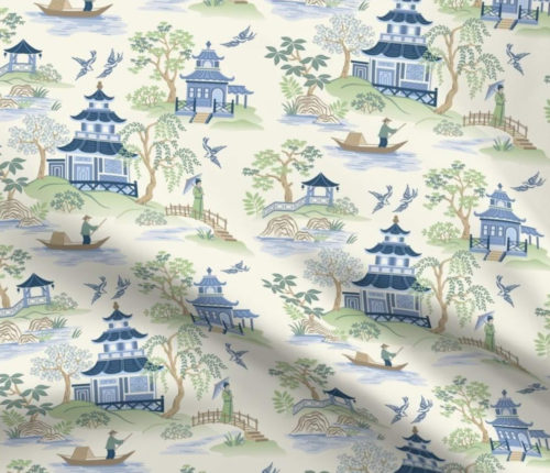 Spoonflower Chinoiserie Toile