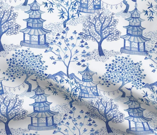 Spoonflower Pagoda Forest in Blues fabric by Danika Herrick
