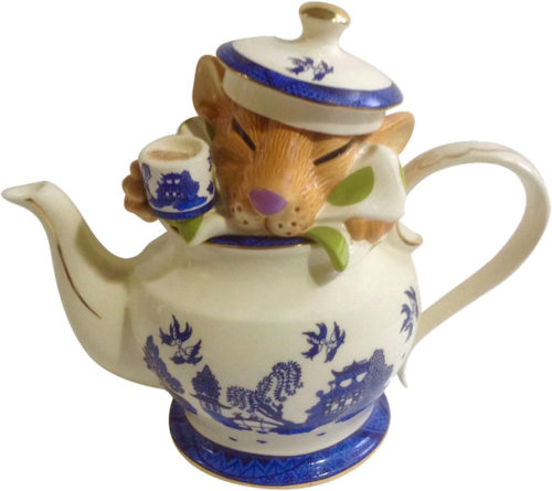 Paul Cardew Alice in Wonderland Mad Hatter Tea Party Tea Pot has the Dormouse in the tea pot holding a cup of tea.