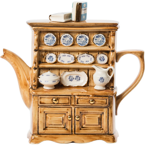 Paul Cardew Teapot Welsh Dresser with Blue Willow Plates