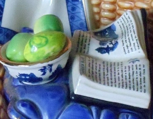 Detail on the Blue Willow Bowl and Book