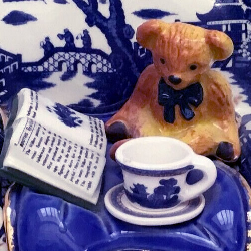 Details of the Teddy Bear, Book and Blue Willow Teacup and Saucer