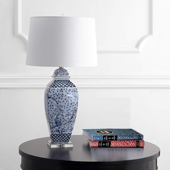 Safavieh TBL4136A Braeden Blue and White Bird and Cherry Blossom Table Lamp