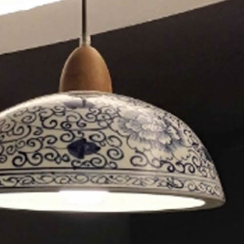 White Porcelain Bowl Pendant with Hand-painted Cobalt Blue Floral Pattern