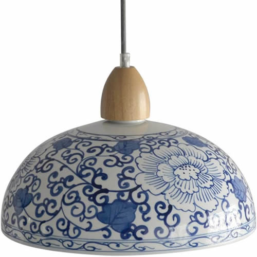 White Porcelain Pendant with Wood Accents and Blue Hand-painted Pattern