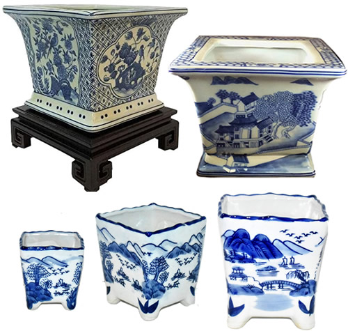 Blue Willow and Blue and White Chinoiserie Square Planters
