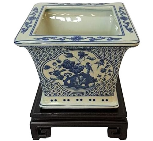 Blue and White Chinoiserie Square Planter on Ebony Wood Stand