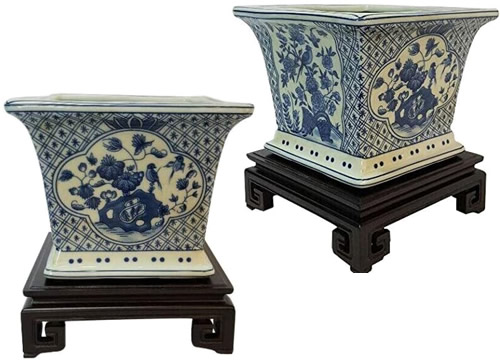 Blue and White Chinoiserie Square Planters on Ebony Wood Stands