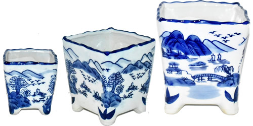 Blue and White Landscape Small Square Plant Pots in 3 sizes