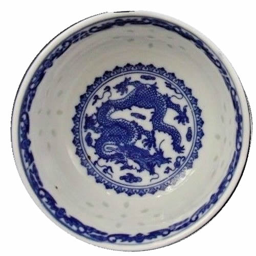 Rice Pattern China with Dragon and Transfer Border