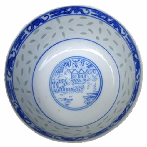 Rice Pattern China with Landscape similar to Blue Willow China