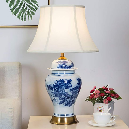 Chinese Farmer Landscape Blue and White Porcelain Table Lamp