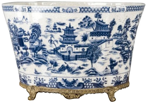 Blue and White Antique Reproduction Ormulu Blue Willow Planter with Jardiniere Pattern