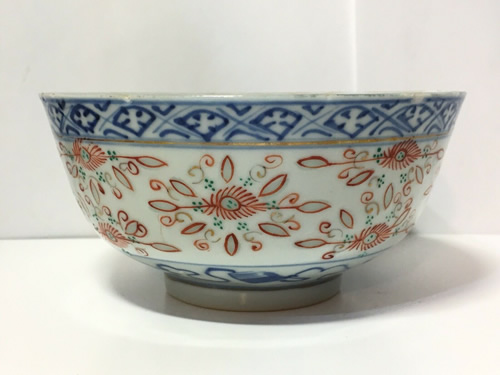 Rice Pattern China Porcelain Bowl with painted decoration in cobalt and other colors