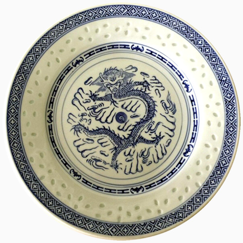 Rice Pattern China Porcelain Plate with Dragon Motif in Cobalt Blue
