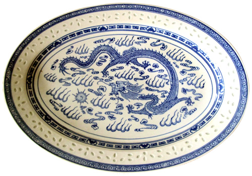 Rice Grain Porcelain Platter with Dragon Motif