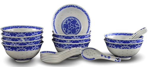 Rice Pattern China Soup Set