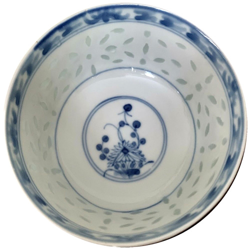 Rice Pattern China with Cobalt Blue Chrysanthemum Flower and Transfer Border