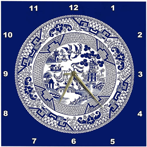 3dRose Willow Pattern Blue Willow Wall Clock
