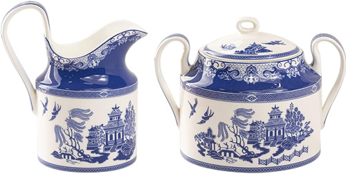 Grace Teaware Bone China Blue Willow Creamer Pitcher and Sugar Bowl