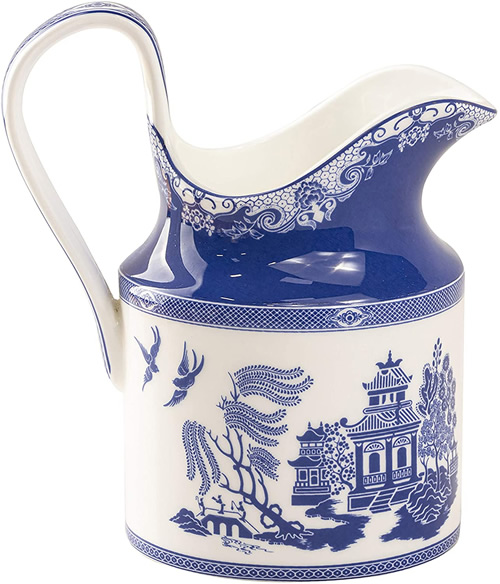Grace Teaware Bone China Blue Willow Creamer Pitcher