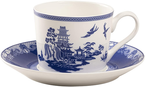 Grace Teaware Bone China Blue Willow Tea Cup and Saucer