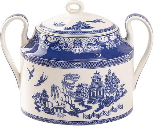 Grace Teaware Bone China Blue Willow Sugar Bowl