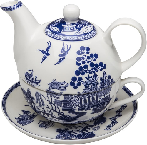 Grace Teaware Bone China Blue Willow Tea For One Cup, Saucer and Teapot with Lid