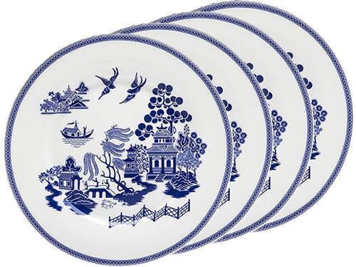 Grace Teaware Blue Willow Scene Bone China Dessert Plates