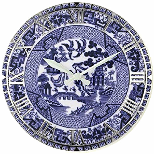 Blue Willow Clock with White hands and Silver Roman Numerals