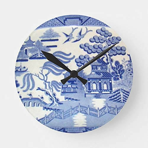 Contemporary Blue Willow Wall Clock with Black Hands