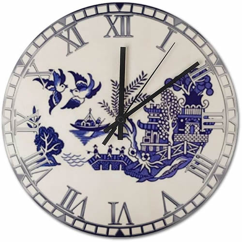 Wood Wall Clock with Blue Willow Motif